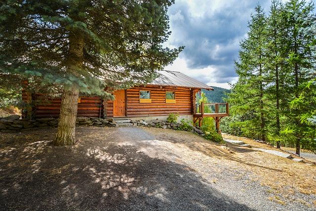 dřevěný dům, les, hory