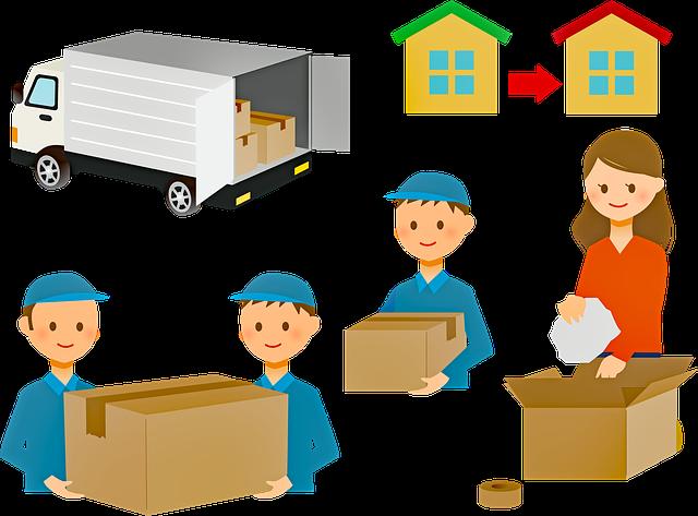 stěhování, krabice, dodávka